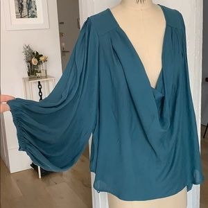 Free People teal peasant cowl neck blouse M
